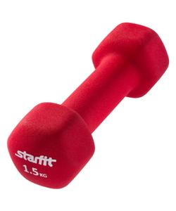 Гантель неопреновая STARFIT DB-201 1,5 кг, насыщенный красный (1 шт.) 1/12