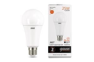 Лампа Gauss LED Elementary A67 25W E27 2000lm 3000K 1/10/50