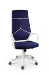 Кресло офисное Norden IQ (White plastic-mustard ) белый пластик / темно-синяя ткань