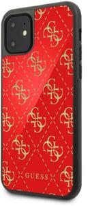 Чехол Guess для iPhone 11 Double layer 4G Peony Hard Glass Red