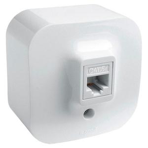 Розетка компьютерная, 2хRJ-45, кат. 5e, UTP, автоматическое подключение с прокалыванием изоляции проводников, белая, Quteo