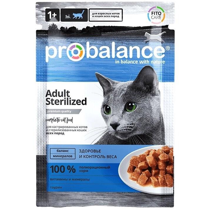 Консервированный корм ProBalance Sterilized для стерилизованных кошек / кастрированных котов 85 г., (25 шт. в уп.)