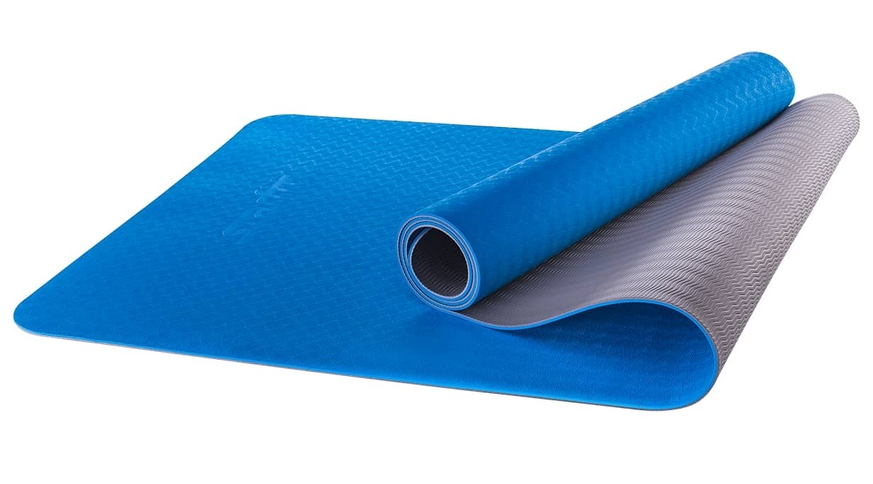 Коврик для йоги STARFIT FM-201 TPE 173x61x0,4 см, синий/серый 1/12