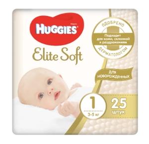 Подгузники Элит Софт 1 (3-5 кг) 25 шт Huggies