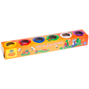"""Тесто для лепки Мульти-Пульти """"Енот на пасеке"""", 06 цветов*90г, картон"""