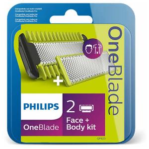 Сменные лезвия для лица с насадкой-гребнем для тела Philips QP620/50 для OneBlade и OneBlade Pro, 2 шт