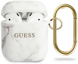 Чехол GUESS с кольцом для Airpods TPU, ультра-тонкий, под мрамор белый