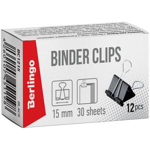 Зажимы для бумаг 15мм, Berlingo, 12шт., черные, картонная коробка