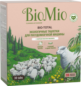 Эко-таблетки для посудомоечной машины 7в1 с маслом ЭВКАЛИПТА 30шт BioMio
