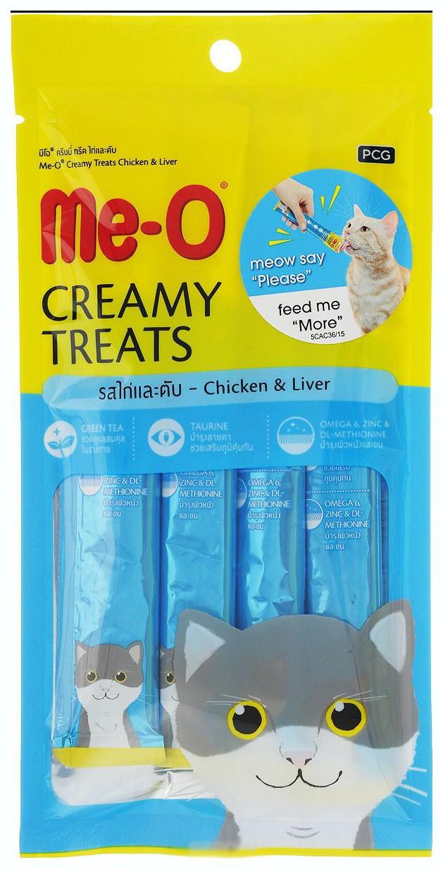 """Крем-лакомство для кошек Ме-О """"Creamy Treats"""", курица/ливер (4 штуки), 60 г"""
