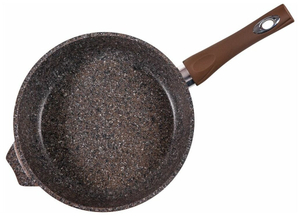 """Сковорода 22см """"Premium"""" ( mokko ) со стеклянной крышкой с несъемной ручкой с22902"""