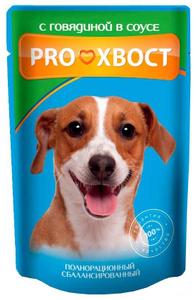 Консервированный корм для собак PROХВОСТ с говядиной 25 шт. х 85 гр.