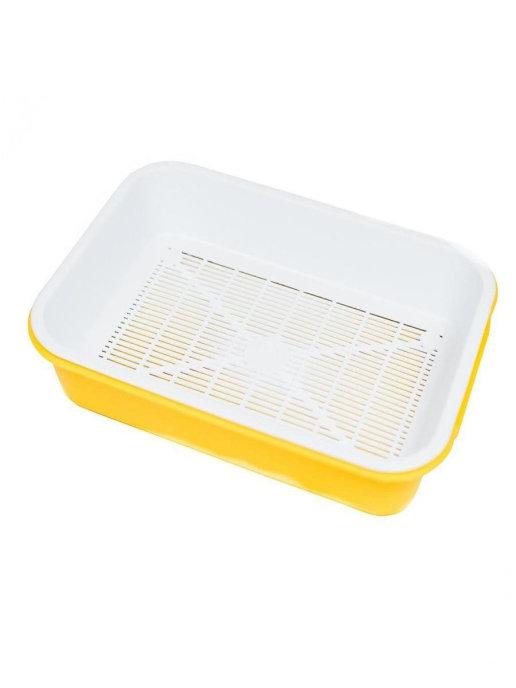 Туалет-лоток для кошек с сеткой, 36 х 26 х 6 см Жёлтый