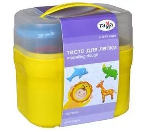"""Тесто для лепки Гамма """"Малыш. Зоопарк"""", 04 цвета*60г, 5 формочек, пластиковый кейс"""