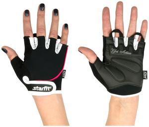 Перчатки для фитнеса STARFIT SU-111, черный/белый/розовый (M)