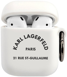 Чехол Lagerfeld для Airpods Silicone case with ring RSG logo White