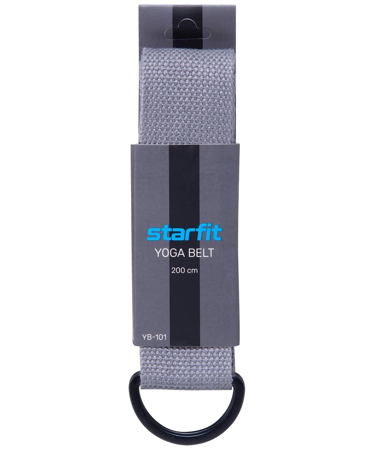 Ремень для йоги YB-101, 200 см, серый