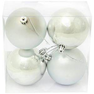 Набор пластиковых шаров 4 шт, 8 см, серебрянный
