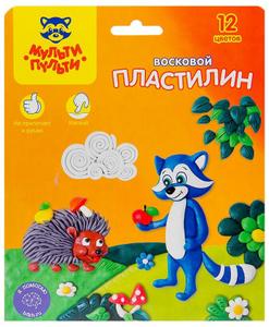 """Пластилин Мульти-Пульти """"Енот в лесу"""", 12 цветов, 180г, восковой, со стеком, картон, европодвес"""