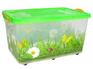 Контейнер для хранения с крышкой «Hide box. Трава», 50 л, 60×38×31 см, крышка МИКС