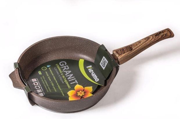 Сковорода 22см АП Гранит brown с несъемной ручкой и стекл. крышкой арт. С22806