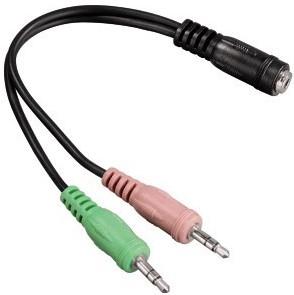 Адаптер аудио Hama H-54572 Jack 3.5 (f)/2xJack 3.5 (m) черный (00054572)