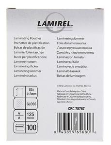Пленка для ламинирования  Lamirel,  83x113мм, 125мкм, 100 шт
