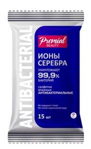 Салфетки влажные антибактериальные Серебряная защита 15шт Premial