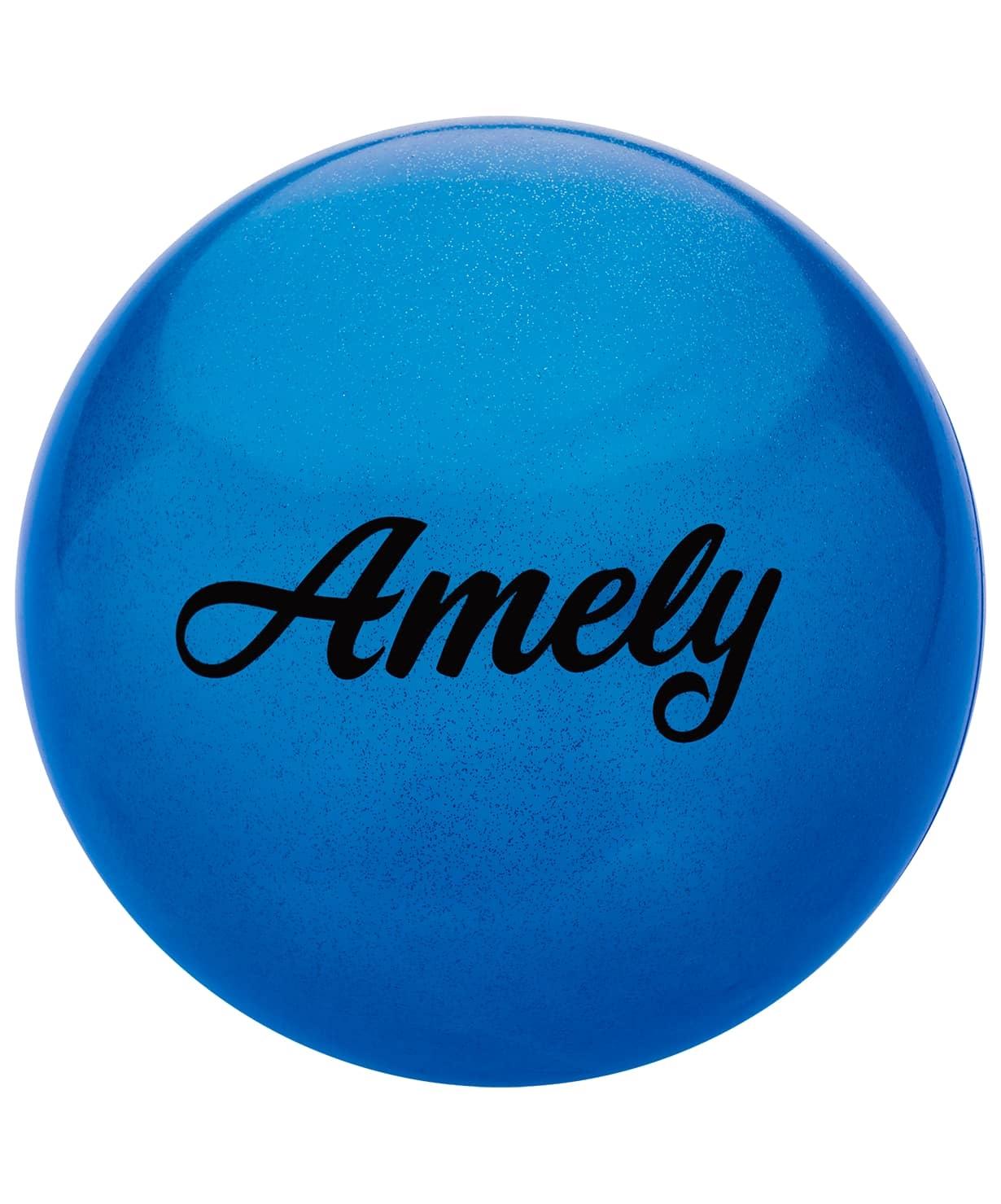 Мяч для художественной гимнастики AGB-102 19 см, синий, с блестками