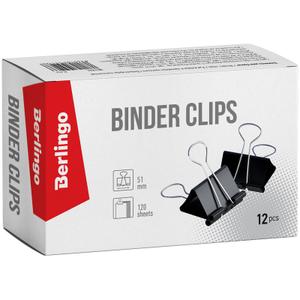 Зажимы для бумаг 51мм, Berlingo, 12шт., черные, картонная коробка