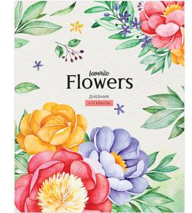 """Дневник 5-11 кл. 48л. """"Цветы. Favorite flowers"""", ВД-лак"""