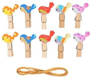 Прищепки декоративные с веревкой для подвеса «Весенние птички» набор 10 шт.