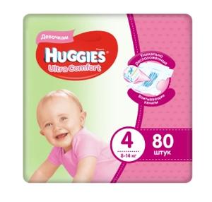 Подгузники Ultra Comfort для девочек 4 (8-14 кг) 80 шт Huggies