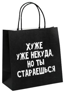 Пакет подарочный «Хуже уже некуда», 22 × 22 × 11 см