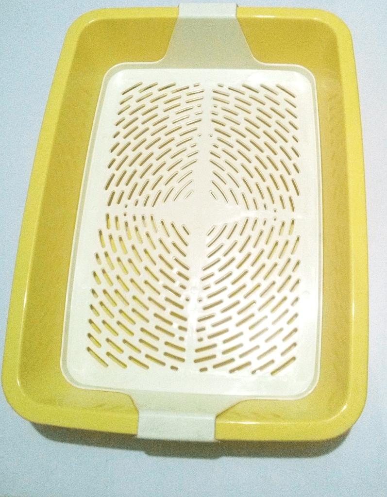 """Туалет-лоток для кошек с сеткой """"Кетти"""" 42*31*8 см Жёлтый"""