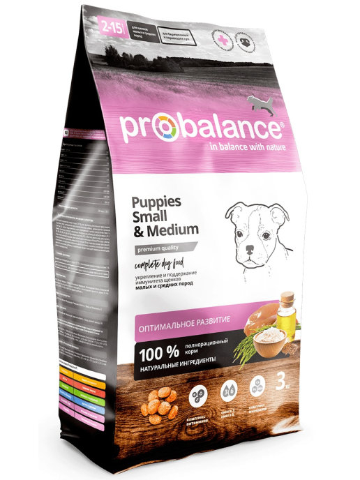 """Сухой корм для щенков ProBalance """"Small & Medium"""" для защиты иммунитета 2 шт. х 3 кг."""