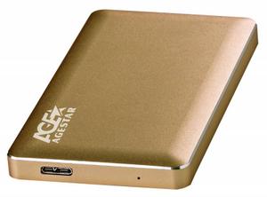 """Мобильное шасси AgeStar < 3UB2A16-Gold > (EXT BOX для внешнего подключения 2.5"""" SATA HDD, USB3.0)"""
