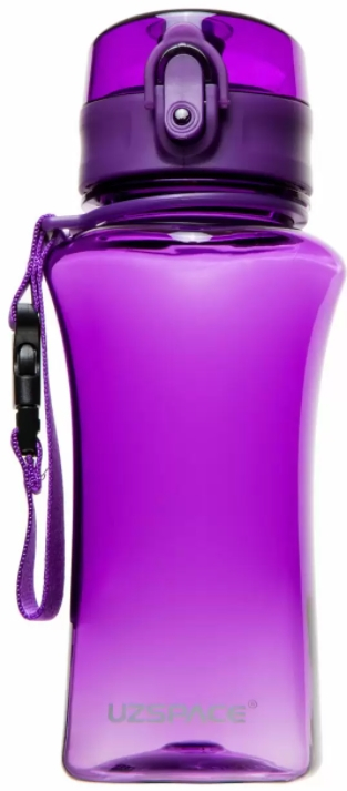 Бутылка-шейкер для воды UZSPACE One touch Gloss, 350 ml (6005) (Фиолетовый)