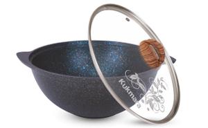 """кгг47а, Казан для плова 4,5л со стеклянной крышкой АП линия """"Granit ultra""""  (Blue)"""