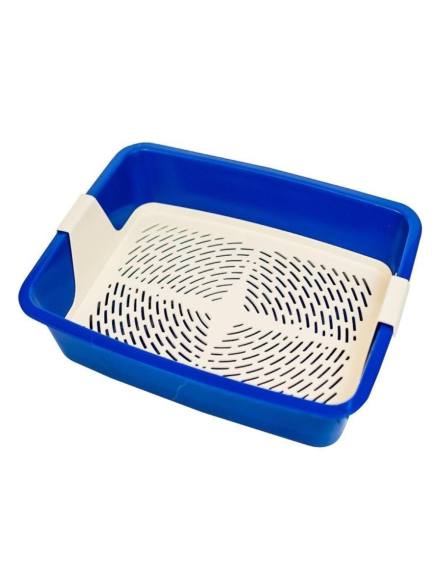 """Туалет-лоток для кошек с сеткой """"Кетти"""" 42*31*8 см Синий"""