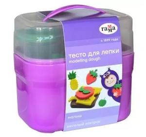 """Тесто для лепки Гамма """"Малыш. Веселый завтрак"""", 04 цвета*60г, 8 формочек, пластиковый кейс"""