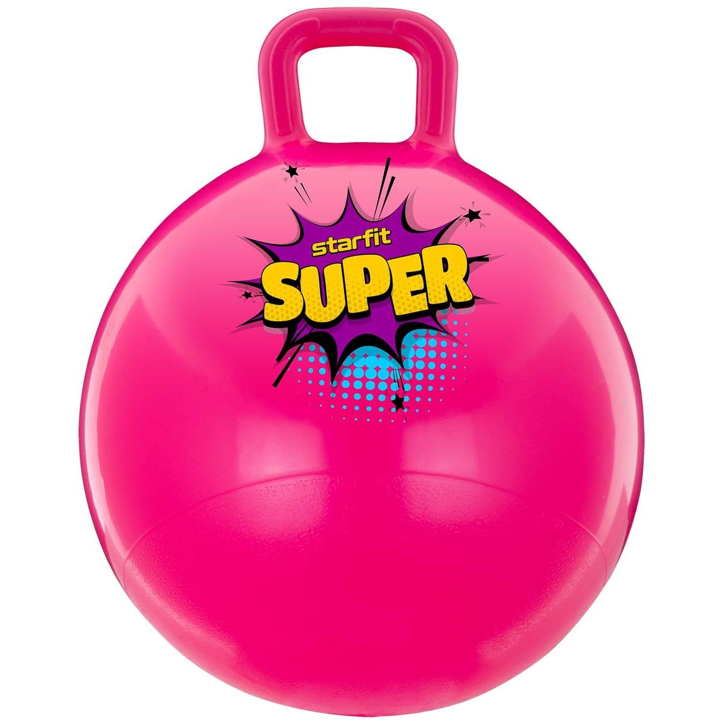 Мяч-попрыгун GB-0401, SUPER, 45 см, 500 гр, с ручкой, розовый, антивзрыв