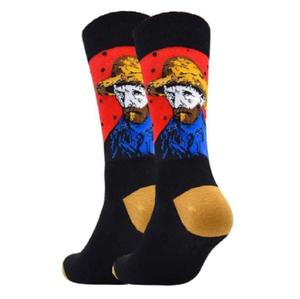 """Дизайнерские носки серии полотна великих """"Автопортрет в соломенной шляпе"""" Винсент Ван Гог"""