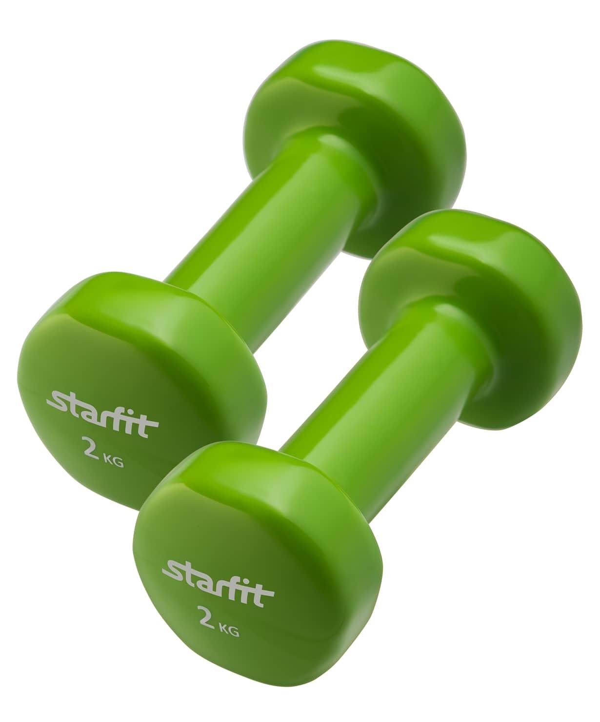 Гантель виниловая, комплект STARFIT DB-101 2 кг, зеленый, 2 шт