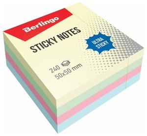 """Самоклеящийся блок Berlingo """"Ultra Sticky"""", 50*50мм, 240л, 4 пастельных цвета"""
