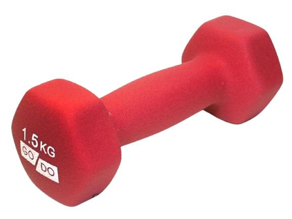 Гантель GO DO в виниловой матовой (неопреновой) оболочке.  Вес 1,5 кг. (Красный)