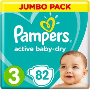 Подгузники Active Baby-Dry Midi (6-10 кг)  Упаковка 82 PAMPERS