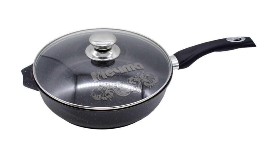Сковорода 24см АП Гранит black с несъемной ручкой и стекл. крышкой арт. С24802