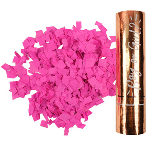 """Хлопушка пневматическая ПатиБум """"Мальчик или Девочка. Pink"""", 20см, в золотой картонной тубе, фольга"""