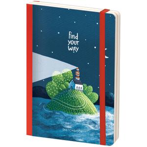 """Скетчбук - альбом для рисования 80л. B6 """"Find your way"""", 100г/м2, тв.обл, карман, доп.листы крафт"""
